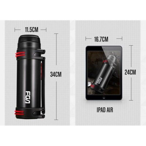 31760 - Вместительный походный термос Fu Guang WFZ6019 - 1800 мл, ручка, ремни, теплоизоляция до 24 часов