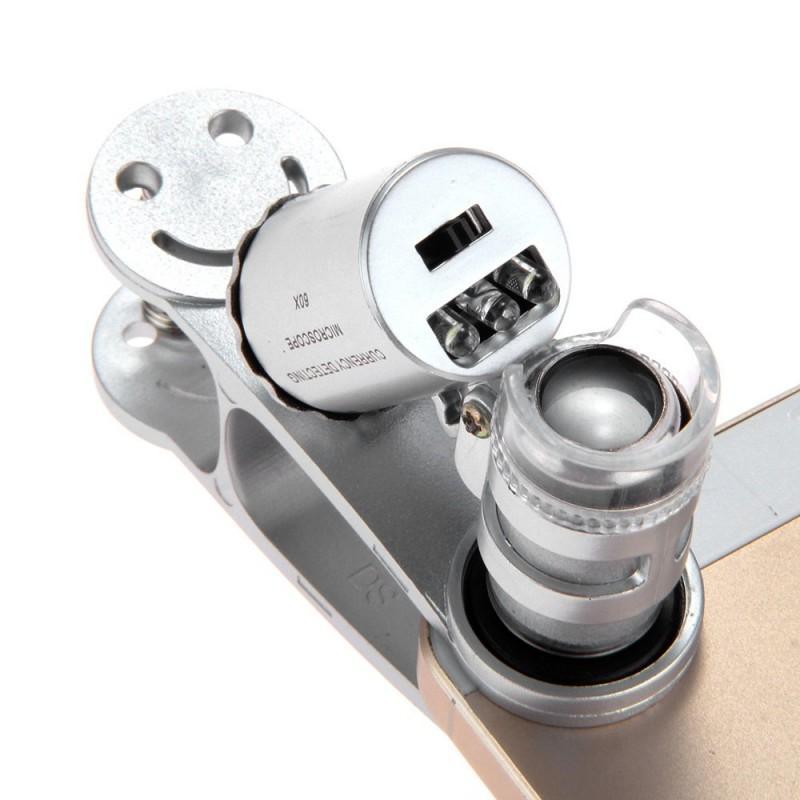 Мобильный 60х микроскоп для смартфона с клипсой + УФ-детектор валют - Серебристый