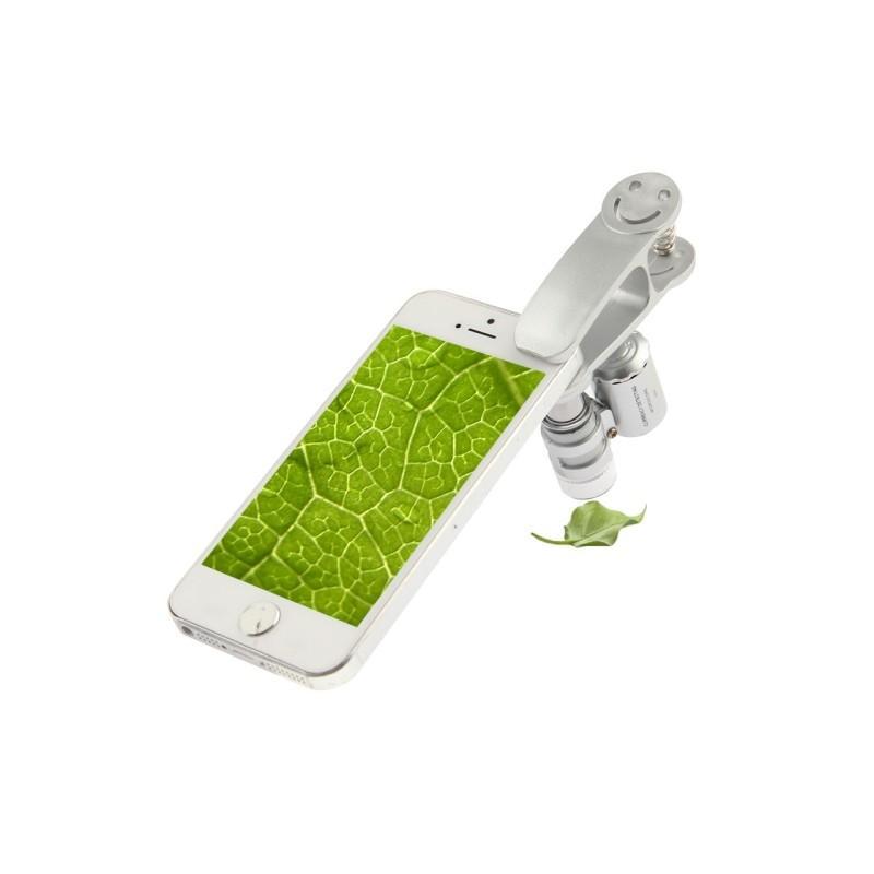 32029 - Мобильный 60х микроскоп для смартфона с клипсой + УФ-детектор валют