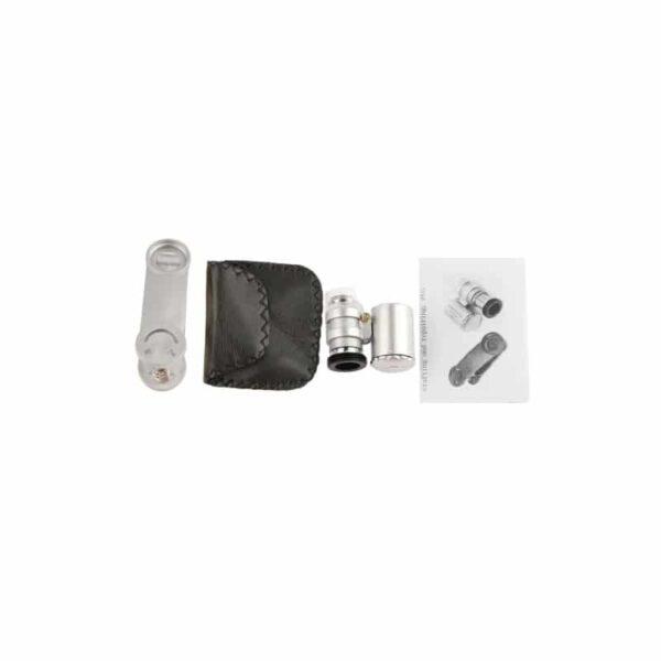 32034 - Мобильный 60х микроскоп для смартфона с клипсой + УФ-детектор валют
