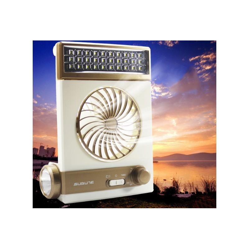 Мини-вентилятор на солнечной батарее с LED-лампой и фонариком: питание от солнечной панели и от сети, батарея 2000 мАч - Золотистый