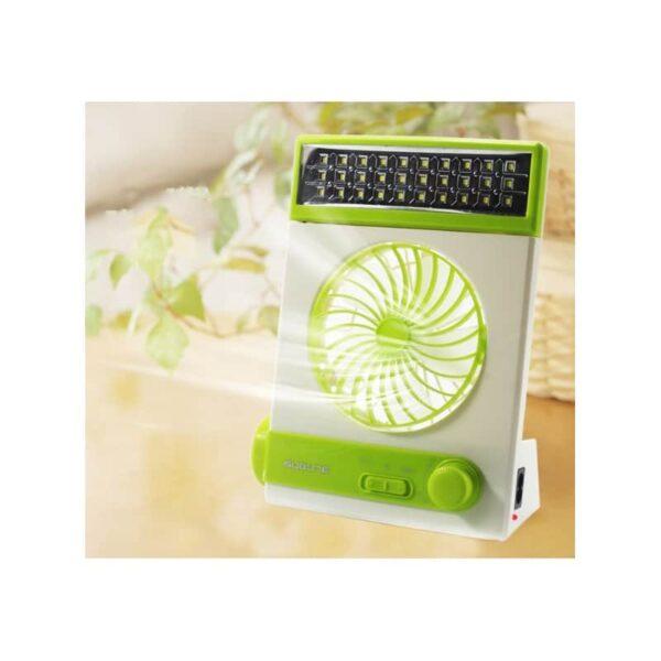 32494 - Мини-вентилятор на солнечной батарее с LED-лампой и фонариком: питание от солнечной панели и от сети, батарея 2000 мАч