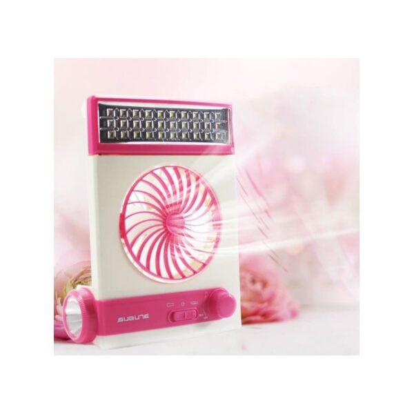 32495 - Мини-вентилятор на солнечной батарее с LED-лампой и фонариком: питание от солнечной панели и от сети, батарея 2000 мАч