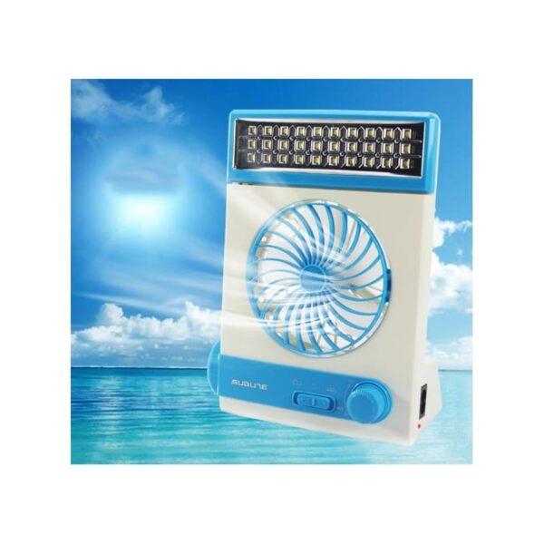 32496 - Мини-вентилятор на солнечной батарее с LED-лампой и фонариком: питание от солнечной панели и от сети, батарея 2000 мАч