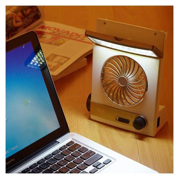 32497 - Мини-вентилятор на солнечной батарее с LED-лампой и фонариком: питание от солнечной панели и от сети, батарея 2000 мАч