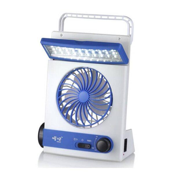 32498 - Мини-вентилятор на солнечной батарее с LED-лампой и фонариком: питание от солнечной панели и от сети, батарея 2000 мАч