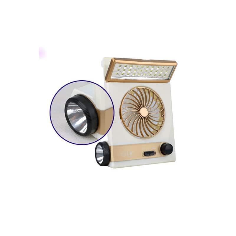 Мини-вентилятор на солнечной батарее с LED-лампой и фонариком: питание от солнечной панели и от сети, батарея 2000 мАч 208935