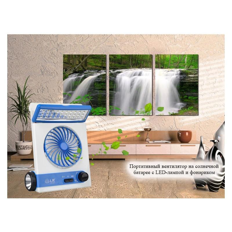 Мини-вентилятор на солнечной батарее с LED-лампой и фонариком: питание от солнечной панели и от сети, батарея 2000 мАч 208938