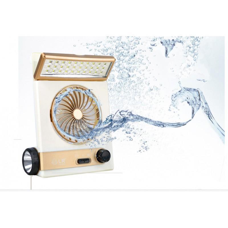 Мини-вентилятор на солнечной батарее с LED-лампой и фонариком: питание от солнечной панели и от сети, батарея 2000 мАч 208939