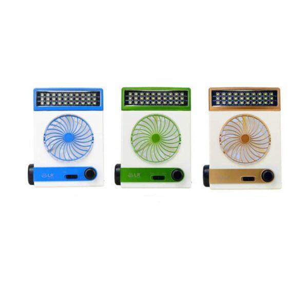 32508 - Мини-вентилятор на солнечной батарее с LED-лампой и фонариком: питание от солнечной панели и от сети, батарея 2000 мАч