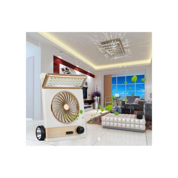 32510 - Мини-вентилятор на солнечной батарее с LED-лампой и фонариком: питание от солнечной панели и от сети, батарея 2000 мАч