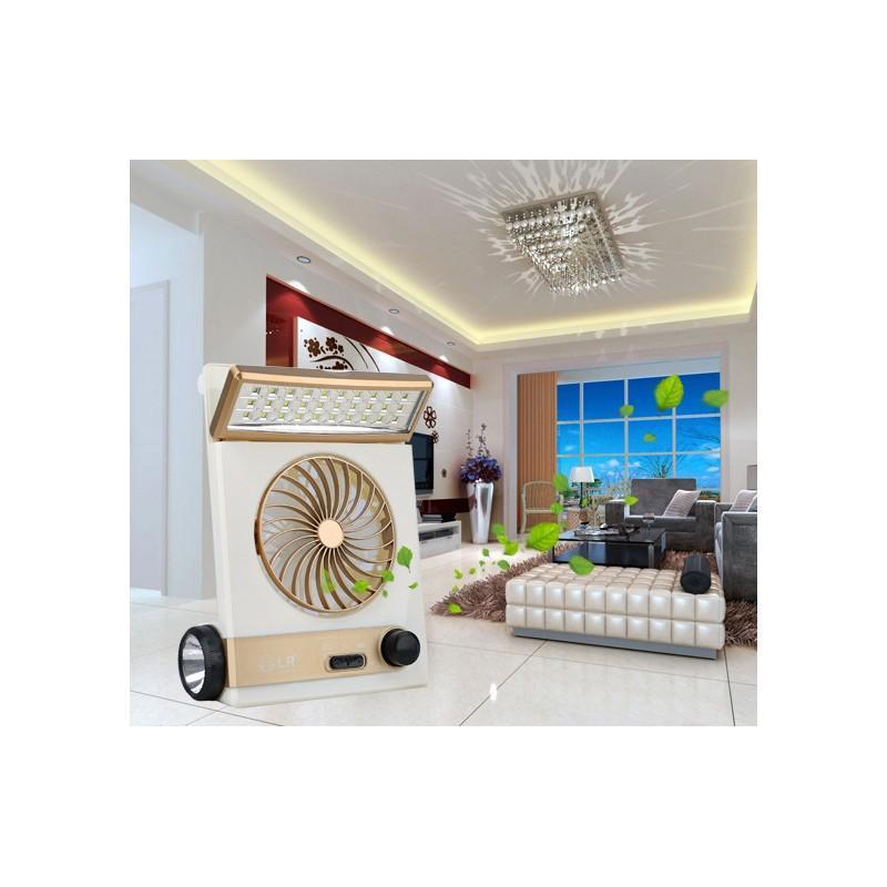 Мини-вентилятор на солнечной батарее с LED-лампой и фонариком: питание от солнечной панели и от сети, батарея 2000 мАч 208943
