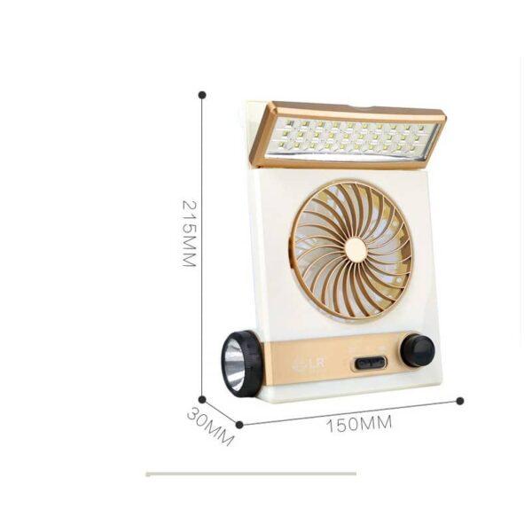 32511 - Мини-вентилятор на солнечной батарее с LED-лампой и фонариком: питание от солнечной панели и от сети, батарея 2000 мАч