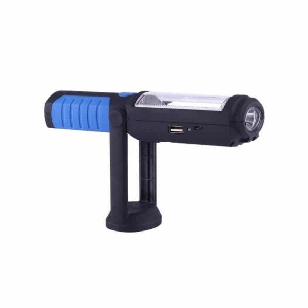 33370 - Водонепроницаемый фонарь-лампа PR5W-USB - 400 LM, IP43, USB зарядка, белый свет, магнитная основа, поворотное крепление, крючок