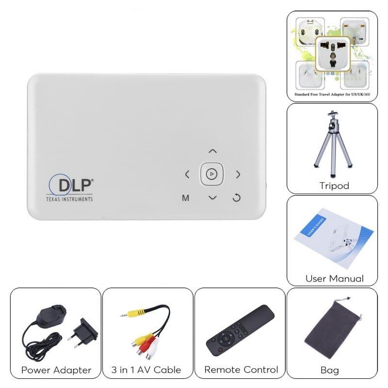 Мини Android-проектор GP1SUP – технология DLP, четырехъядерный процессор, память 8 Гб, поддержка 1080p, батарея 2500 мАч, Wi-Fi 209932