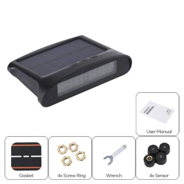 33703 - Система контроля давления в шинах - солнечная батарея, USB-зарядка, 4 датчика, IP67, ЖК-дисплей, оповещения