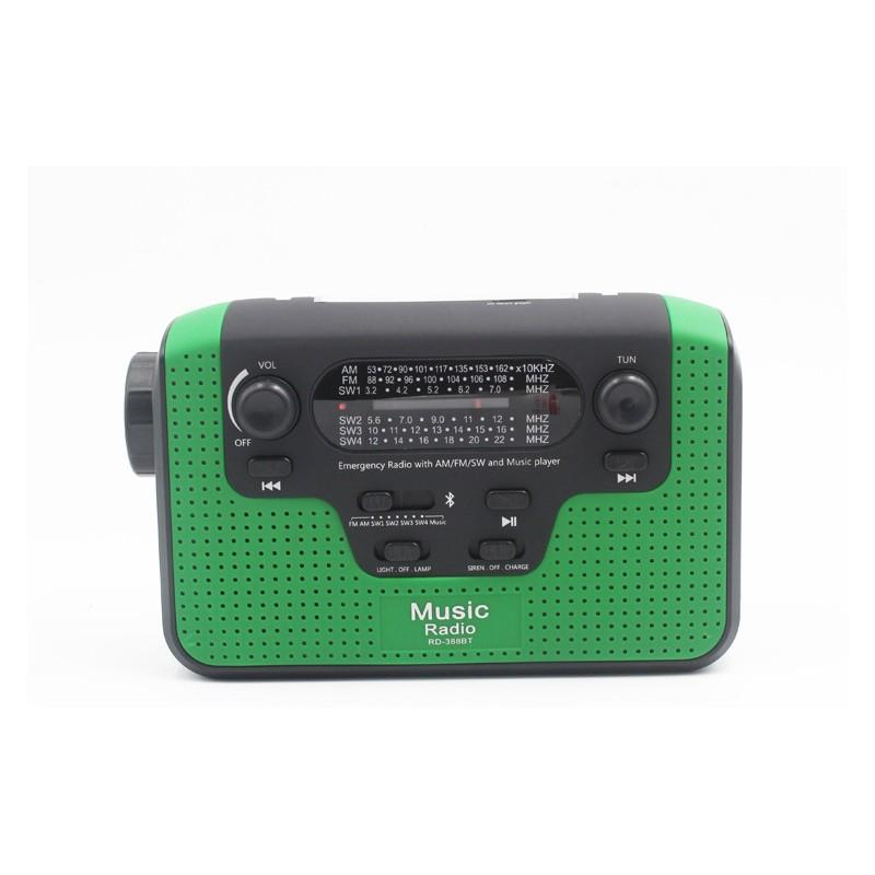 33851 - FM/AM/SW1-SW4 радио 5 в 1: Bluetooth колонка, зарядка для телефона, фонарик, лампа+динамо-машина, солнечная батарея, TF-карта