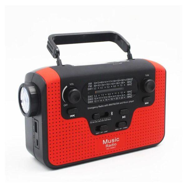 33861 - FM/AM/SW1-SW4 радио 5 в 1: Bluetooth колонка, зарядка для телефона, фонарик, лампа+динамо-машина, солнечная батарея, TF-карта