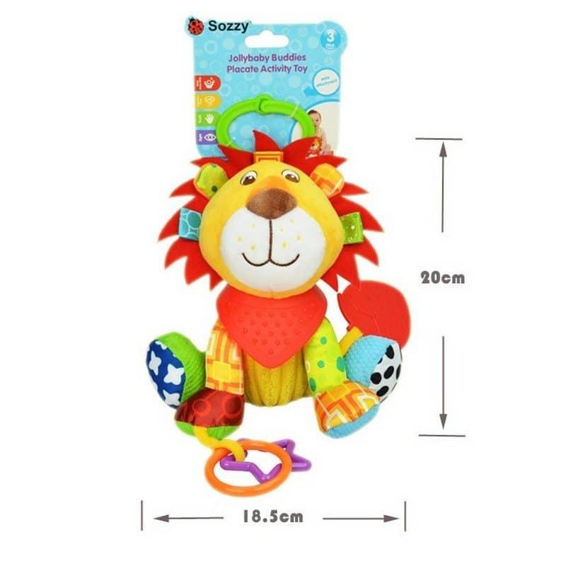 Развивающие игрушки Sozzy для малышей – кольцо-подвеска, прорезыватель, пищалка, погремушка, шелестелка, вибрация