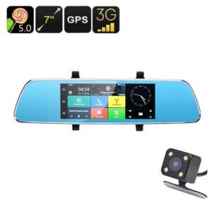 Автомобильный видеорегистратор Full-HD Rearview Mirror – 7-дюймовый монитор, Android 5.0, GPS, парковочная камера, 3G, G-сенсор