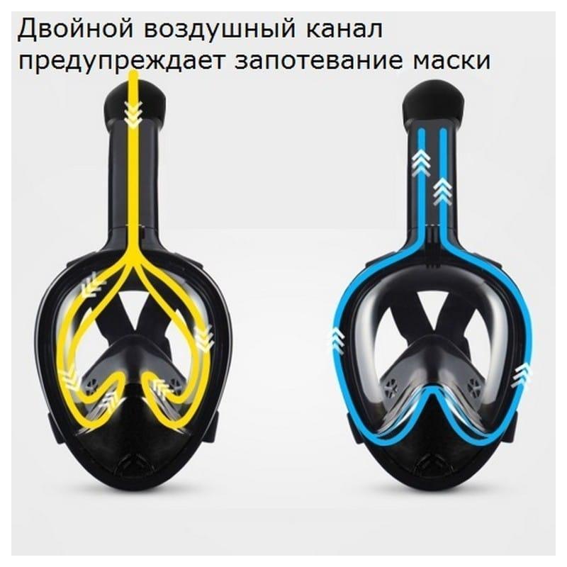 Дайвинг-маска PULUZ 260 мм – крепление для экшн-камеры, вентиляция, двойной воздушный канал, клапан на дыхательной трубке 210485