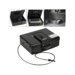 Портативный сейф ADB-928 с электронным замком – пуленепробиваемая сталь, аварийный ключ, металлический трос