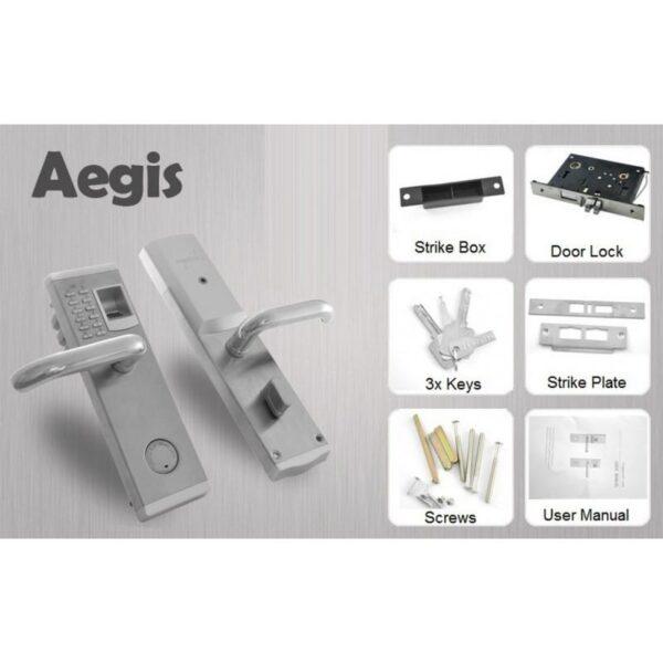 34384 - Левосторонний биометрический замок Aegis - датчик отпечатков пальцев, ключ, код