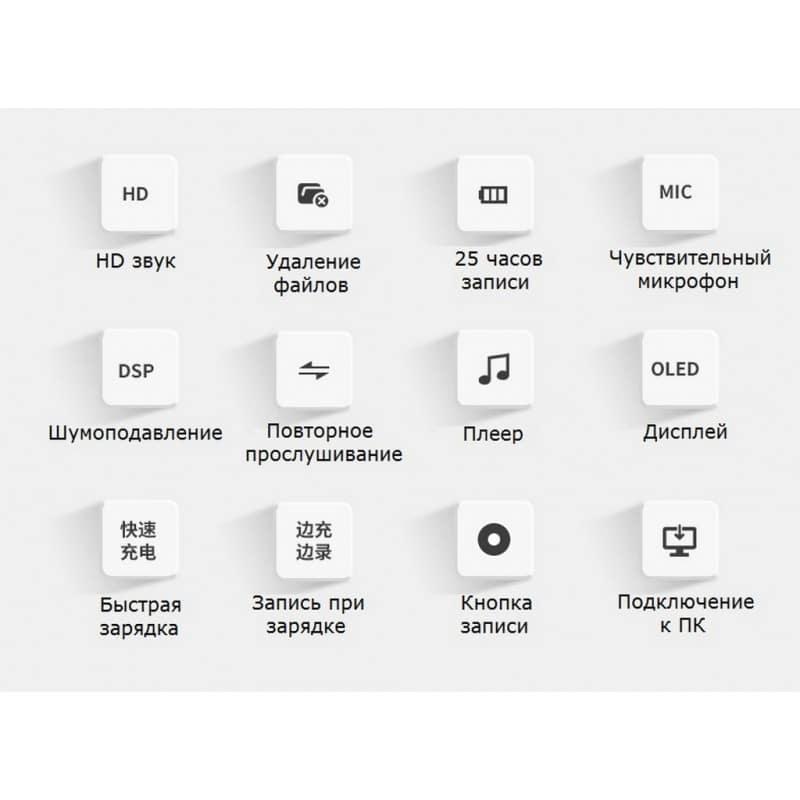 Компактный диктофон Ring H-R280 – HD качество, шумоподавление, 8 Гб / 16 Гб 210665