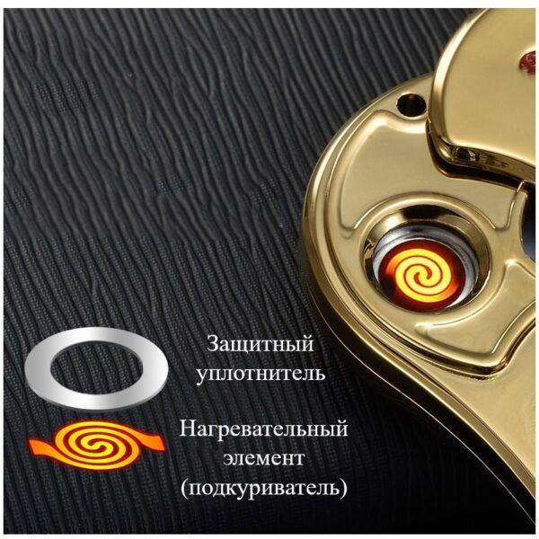 34452 - Спиннер/ игрушка-антистресс (гироскопический тренажер) для рук со встроенной USB-зажигалкой
