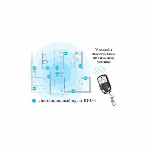 35140 - Сенсорный выключатель 3 в 1 Smart Home Light с подсветкой и дистанционным пультом RF433: закаленное стекло, защита от молнии