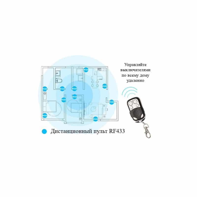 Сенсорный выключатель 3 в 1 Smart Home Light с подсветкой и дистанционным пультом RF433: закаленное стекло, защита от молнии - Белый