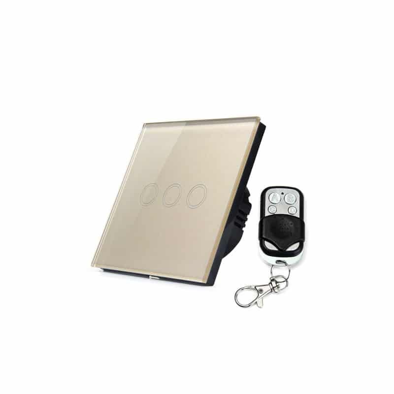 Сенсорный выключатель 3 в 1 Smart Home Light с подсветкой и дистанционным пультом RF433: закаленное стекло, защита от молнии 211289