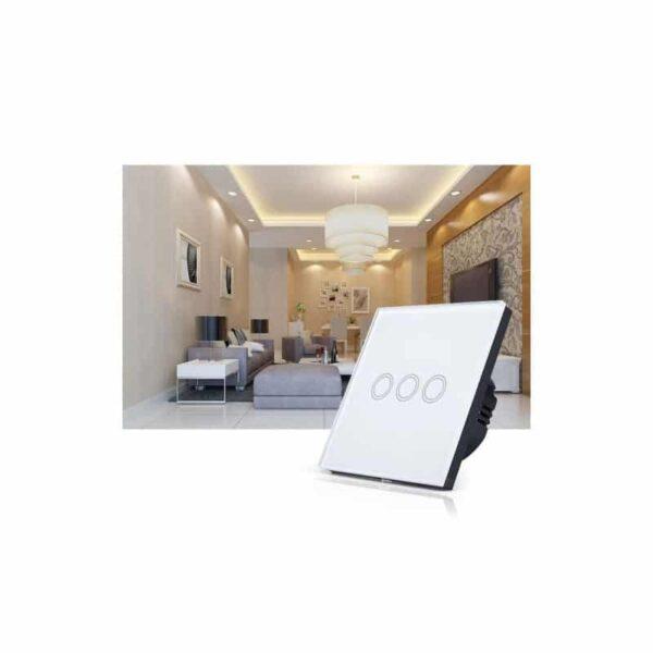 35148 - Сенсорный выключатель 3 в 1 Smart Home Light с подсветкой и дистанционным пультом RF433: закаленное стекло, защита от молнии
