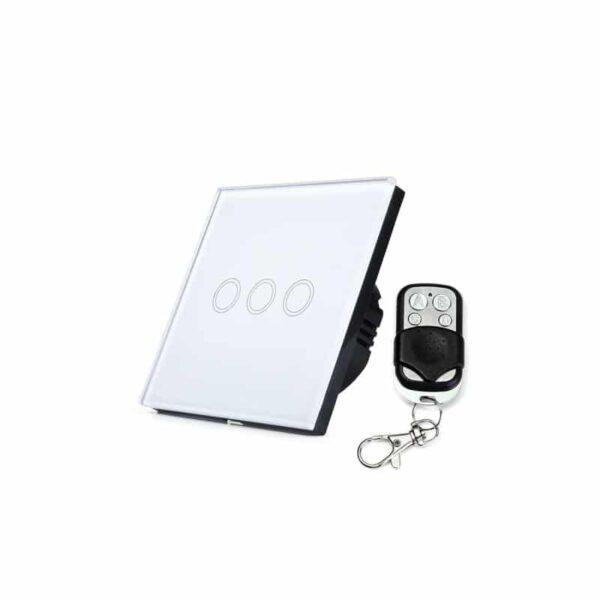 35149 - Сенсорный выключатель 3 в 1 Smart Home Light с подсветкой и дистанционным пультом RF433: закаленное стекло, защита от молнии