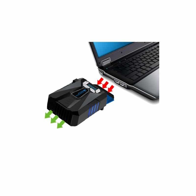 Портативный вентилятор для ноутбука CoolCold Ice Troll 5 с USB-питанием: выбор скорости, ЖК-дисплей, подсветка - Черный