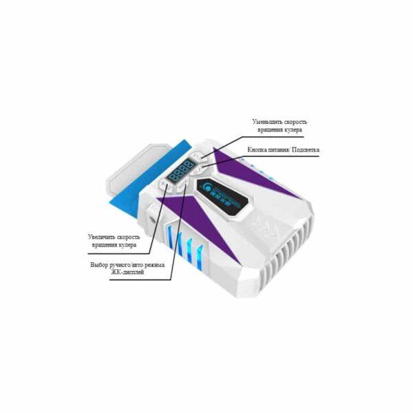 35210 - Портативный вентилятор для ноутбука CoolCold Ice Troll 5 с USB-питанием: выбор скорости, ЖК-дисплей, подсветка