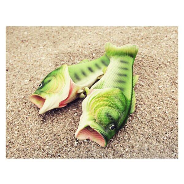 35236 - Смешные пляжные тапки-рыбы/ шлепанцы в форме рыбы (рыбашаги): все размеры