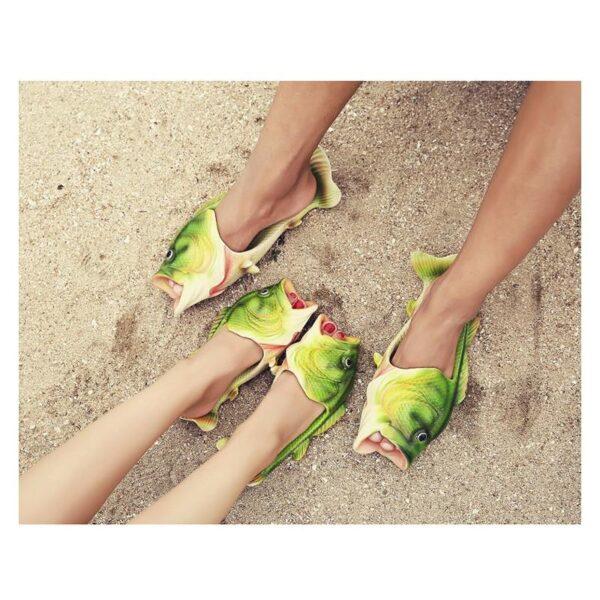 35239 - Смешные пляжные тапки-рыбы/ шлепанцы в форме рыбы (рыбашаги): все размеры