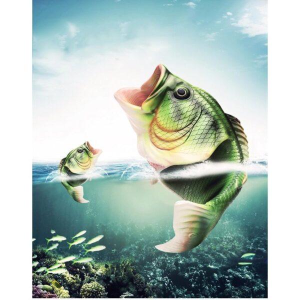 35240 - Смешные пляжные тапки-рыбы/ шлепанцы в форме рыбы (рыбашаги): все размеры