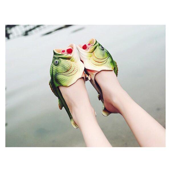 35241 - Смешные пляжные тапки-рыбы/ шлепанцы в форме рыбы (рыбашаги): все размеры