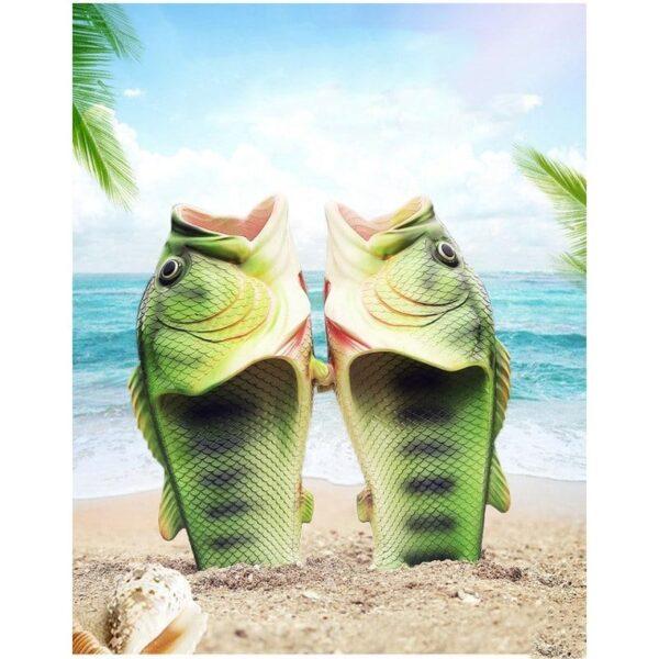 35245 - Смешные пляжные тапки-рыбы/ шлепанцы в форме рыбы (рыбашаги): все размеры