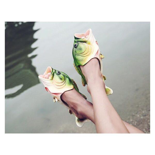 35246 - Смешные пляжные тапки-рыбы/ шлепанцы в форме рыбы (рыбашаги): все размеры