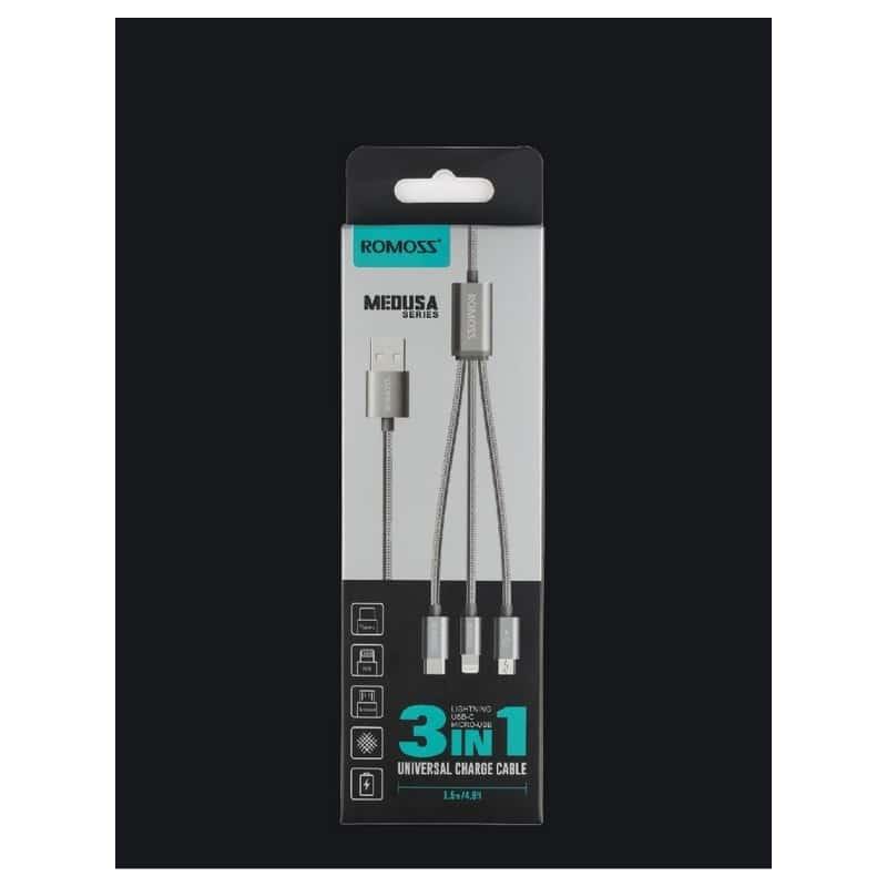 Универсальный зарядный кабель 3в1 ROMOSS Medusa CB25n – быстрая зарядка 2.1A, 1.5 м, Micro USB, Type-C, Lightning 211500