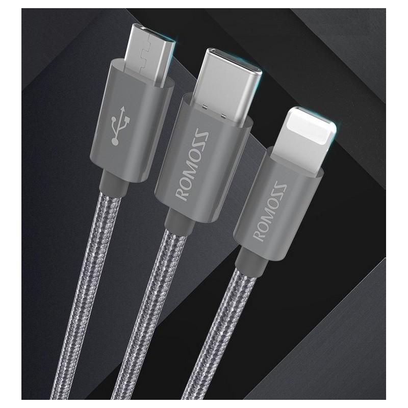 Универсальный зарядный кабель 3в1 ROMOSS Medusa CB25n – быстрая зарядка 2.1A, 1.5 м, Micro USB, Type-C, Lightning 211504