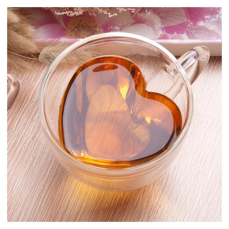 Прозрачная стеклянная чашка в форме сердечка: 180 мл, 240 мл