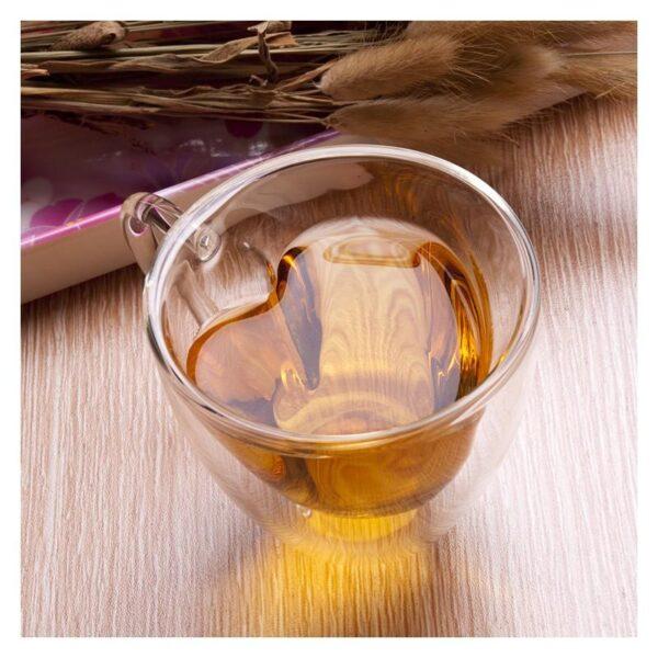 35400 - Прозрачная стеклянная чашка в форме сердечка: 180 мл, 240 мл