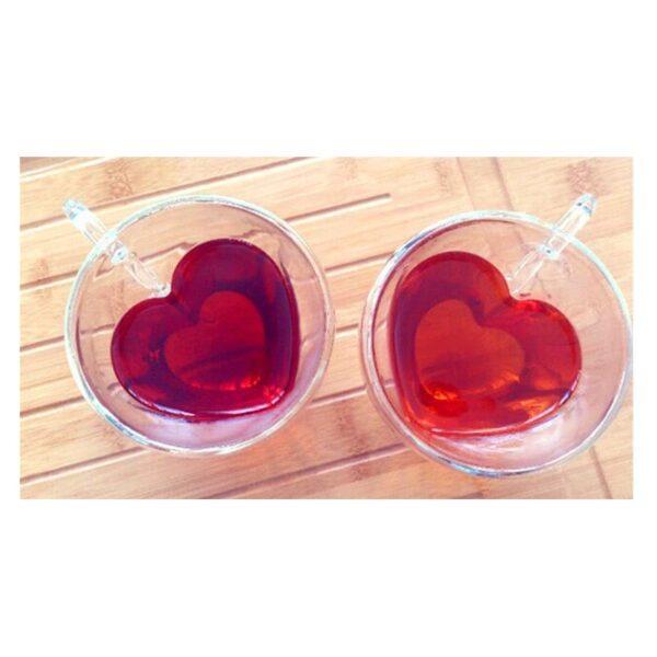35404 - Прозрачная стеклянная чашка в форме сердечка: 180 мл, 240 мл