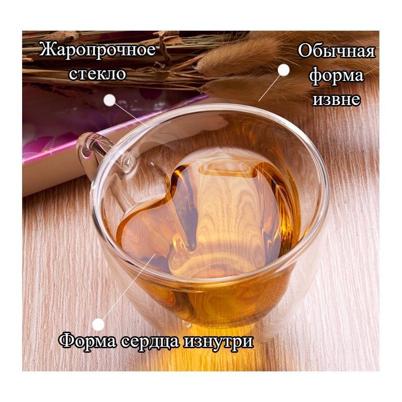 Прозрачная стеклянная чашка в форме сердечка: 180 мл, 240 мл 211520