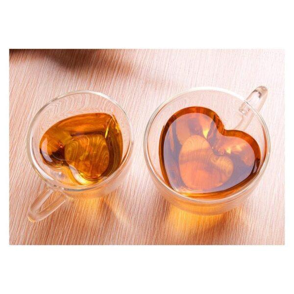 35408 - Прозрачная стеклянная чашка в форме сердечка: 180 мл, 240 мл