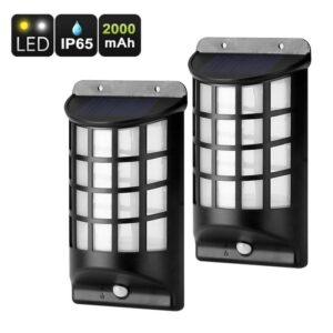 Уличный фонарь-подсветка – 2 шт., датчик движения PIR, IP65, солнечная панель, 2000 мАч